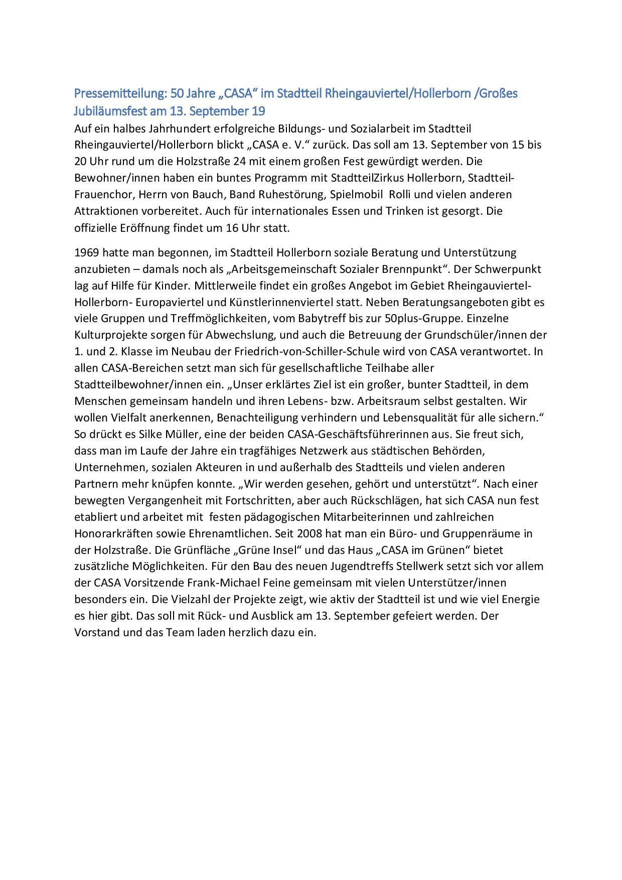 2019-09-05 Jubiläumsfest 50 Jahre Pressemitteilung